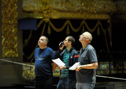 Our head of production crew Axel Schob with technical staff from the Bolshoi