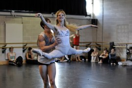 Alicia Amatriain and Alexander Jones rehearsing Taming of the Shrew
