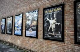 Our poster hanging outside Sadler's Wells