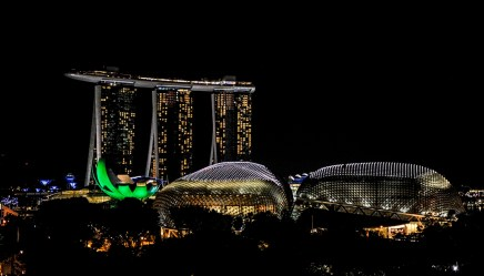 Singapore by night - on the right: the Esplanade Theater