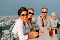 Susanne Klein, Kerstin Stahl, Stefan Fuge, Johanna Doring from the costume department make the most of a free hour to enjoy the view over Singapore's marina bay