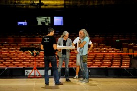 Our lighting crew: Matthias Hettenbach, Stefan Seyrich, Davor Grbesa and Thomas Wittlief discussing lighting plots for Onegin