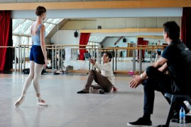 Anna Osadcenko and Jason Reilly rehearsing with Associate Artistic Director Tamas Detrich