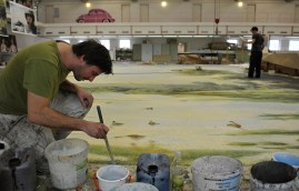 Christoph Maier at work in the scenic paint workshop