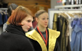 Costume designer Katharina Schlipf with Angelina Zuccarini at a fitting