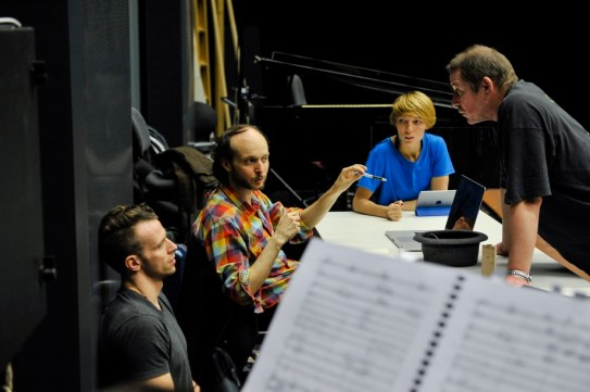 Sidi Larbi Cherkaoui with his assistentants Acacia Schachte und Jason Kittelberger and ballet master Thierry Michel