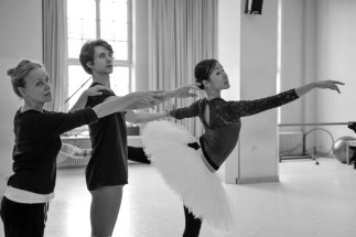 Hyo-Jung Kang and David Moore in a rehearsal with ballet mistress Andria Hall