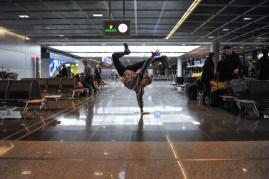 Alexander McGowan limbers up before the flight!