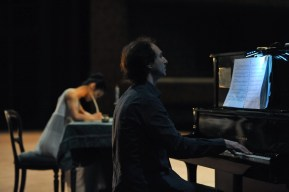 Alastair Bannerman plays for the stage rehearsal.