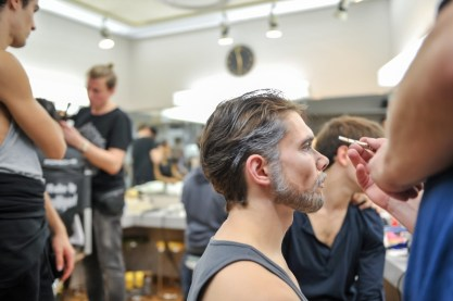 Louis Stiens being made up as the Duke of Verona
