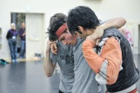 Mercutio's death: Rehersal of Romeo and Juliet: Louis Stiens as Benvolio, Pablo von Sternenfels as Mercutio and Constantine Allen as Romeo