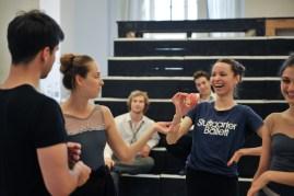 Fun during rehearsal ... Demis Volpi, Elena Bushuyeva, Cedric Rupp, Miriam Kacerova, Anouk van der Weijde