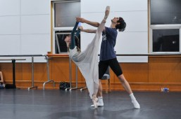Rehearsal for our second performance: Elisa Badenes as Juliet and David Moore as Romeo