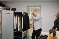Pretending to take a nap :) Stefan Fuge from the costume department (with Johanna Doring and Robert Robinson)