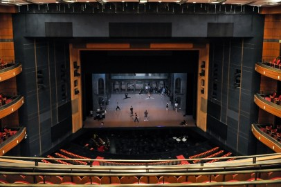 Company class on the stage of the Shanghai Grand Theatre
