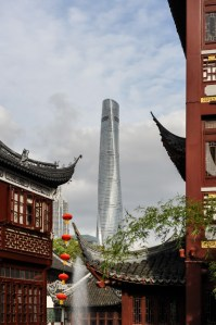 New meets old: Shanghai's highest Building overlooking the old buildings near the Yu Garden.