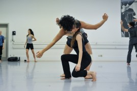 Elisa Badenes, Pablo von Sternenfels rehearsing Sidi Larbi Cherkaoui's Faun (in the background: Agnes Su, Louis Stiens)