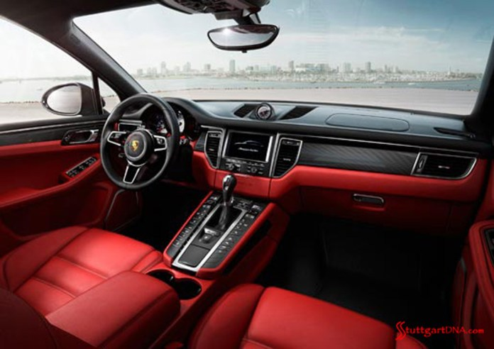 2013 LA Auto Show Porsche Macan world debut: The 2015 Porsche Macan, seen here in its plush red interior option. Source: PCNA