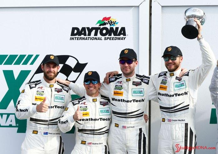 Porsche 2015 Daytona 24 hours: Seen here are Alex Job Racing's No. 22 racecar drivers (l-r) van Gisbergen, Davis, Keen and MacNeil after the 2015 24 Hours of Daytona. Source: Porsche AG