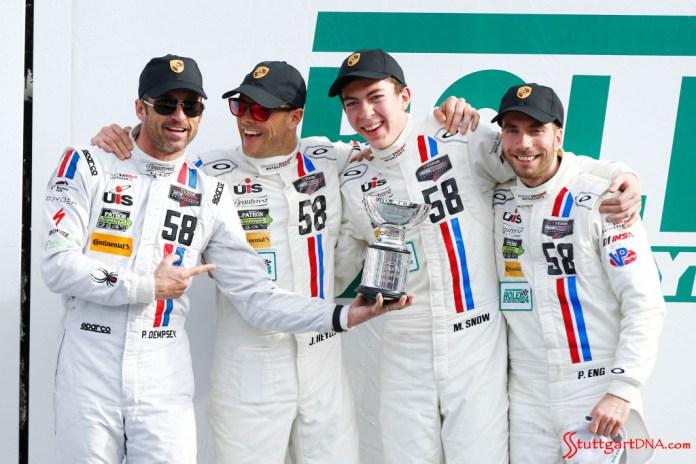 Porsche 2015 Daytona 24 hours: Seen here are the No. 58 racecar Dempsey-Wright Motorsport's drivers (l-r) Dempsey, Heylen, Snow and Eng. Source: Porsche AG