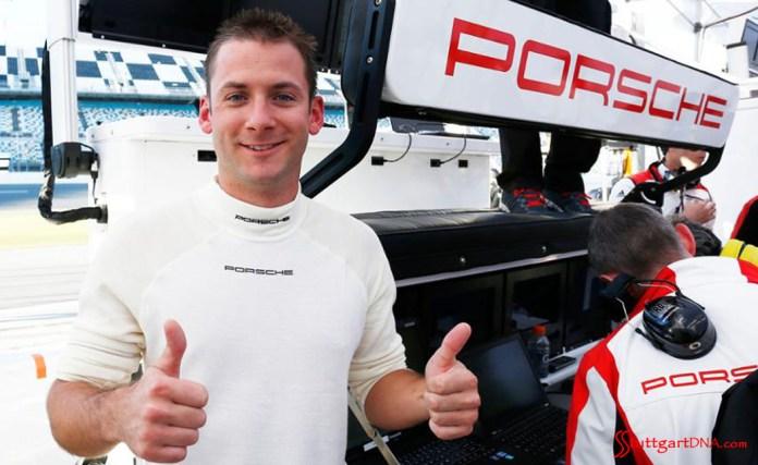 2015 53rd Rolex Daytona 24 has 12 Porsche 911 racecars: Nick Tandy giving thumbs-up in the Porsche pits at Daytona, 2015. Source: PMNA