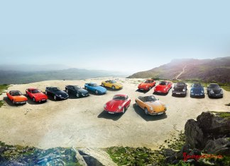 Porsche Classic Centers opening worldwide: Porsche classics -- from 356s and 911s, to 928s, 944s and Boxsters -- are seen parked on a high plateau overlooking picturesque mountainous terrain in the distance. Credit: Porsche AG