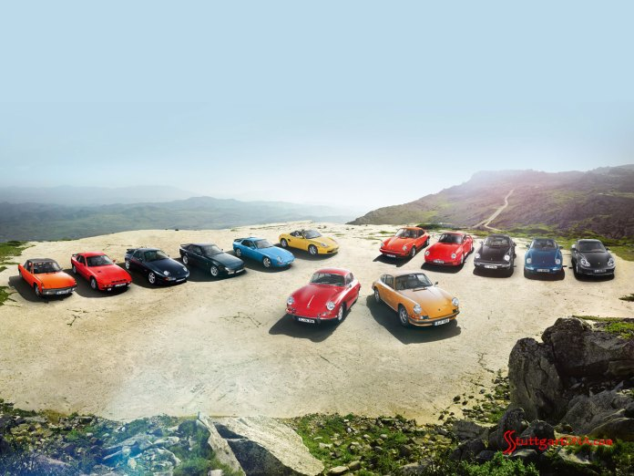 Buy: Top 10 Tips on Buying a Porsche: Porsche classics -- from 356s and 911s, to 928s, 944s and Boxsters -- are seen parked on a high plateau overlooking picturesque mountainous terrain in the distance. Credit: Porsche AG