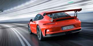The 991 GT3 RS, enjoying its debut, is seen from its left-rear view in a tunnel. Credit: Porsche AG