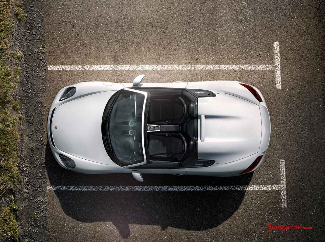Porsche SE records 2015 Q1 group profit. Boxster Spyder World Premiere: The white Boxster Spyder is seen from a dramatic overhead view, at rest in a parking lot's lined space. Credit: PCNA