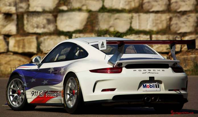 Porsche 911 GT America - United SportsCar: The GT3 America is pictured here from the left rear. Credit: Porsche Motorsport North America