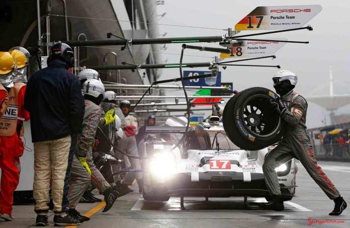 Porsche wins 2015 WEC Championship: No 17 919 Hybrid is pictured here in 2015 Shanghai pits. Credit: Porsche AG