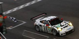 Porsche 911 RSR wins 2015 WEC China race: No 91 gets 2015 WEC China checkered flag. Credit: Porsche AG
