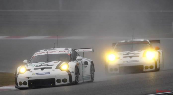 Porsche wins 2015 WEC Championship: Nos 92 and 91 Porsche Team Manthey 911 RSR. Credit: Porsche AG
