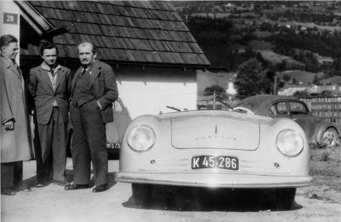 Porsche No 1: Porsche designer Erwin Komenda, Ferry Porsche and Dr. Ferdinand Porsche (l-r) with Porsche No 1. Credit: Porsche AG