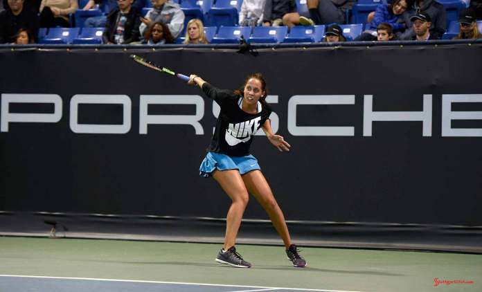 Maria Sharapova and Friends 2015 LA Event: Madison Keys on UCLA Tennis Center Court. Credit: Porsche AG
