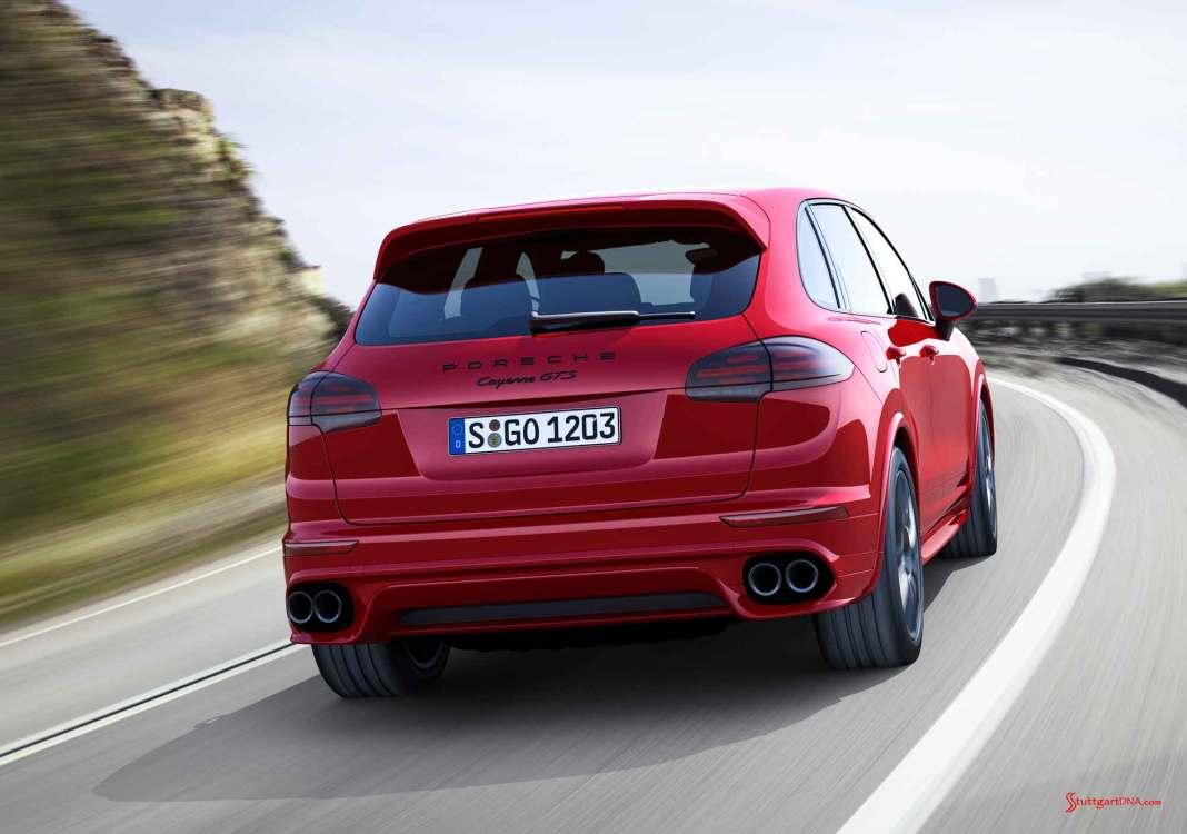 November 2015 Porsche sales: Red Cayenne GTS right-rear on curvy road. Credit: Porsche AG