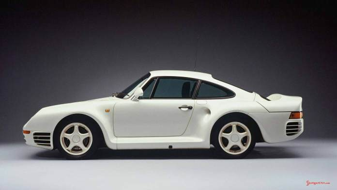 Porsche supercars: 959, 1985, left side. Credit: Porsche AG