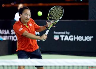 Michael Stich and Michael Chang in Duel of Legends: Michael Chang to Duel of Legends, 2016. Credit: Porsche AG