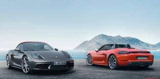 The new Porsche 718 Boxster: Two 718 Boxsters at shore. Credit: Porsche AG