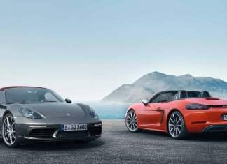 The new Porsche 718 Boxster: Two 718 Boxsters at shore. Credit: Porsche AG