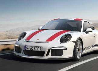 The new 2016 Porsche 911 R: wolf in sheep's clothing: 911 R, front-left, on hilly road. Credit: Porsche AG