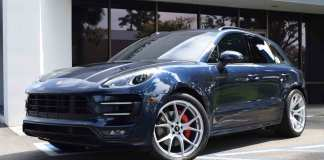 Porsche Reports February 2016 US Sales: Blue Macan Turbo, left-front. seen here during the 2016 GMG Open House in Santa Ana, California. Credit: StuttgartDNA