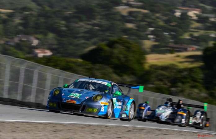 New 2016 Porsche 911 GT3 R wins first race: No. 23 Porsche 911 GT3 R and prototype before Corkscrew at 2016 Laguna Seca. Credit: Porsche AG
