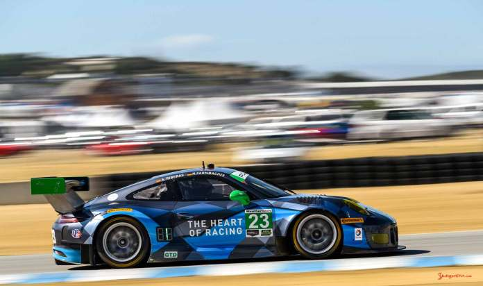 New 2016 Porsche 911 GT3 R wins first race: No. 23 GT3 R right side on track at 2016 Laguna Seca. Credit: Porsche AG