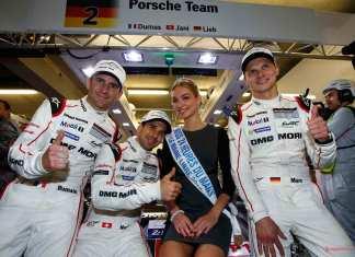 Porsche earns 18th Le Mans pole: Dumas, Jani and Lieb with Miss 24 Heures du Mans. Credit: Porsche AG