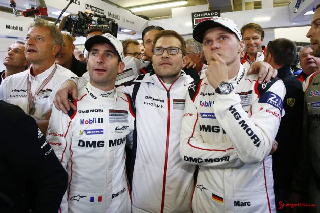 Porsche garners 18th overall win at 84th Le Mans 2016: Romain Dumas, Andreas Seidl (Team Principal, Porsche Team), Marc Lieb. Credit: Porsche AG