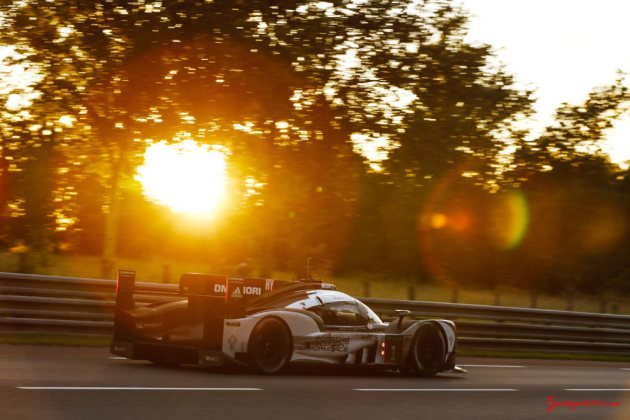Porsche garners 18th overall win at 84th Le Mans 2016: No. 1 919 against sunset. Credit: Porsche AG