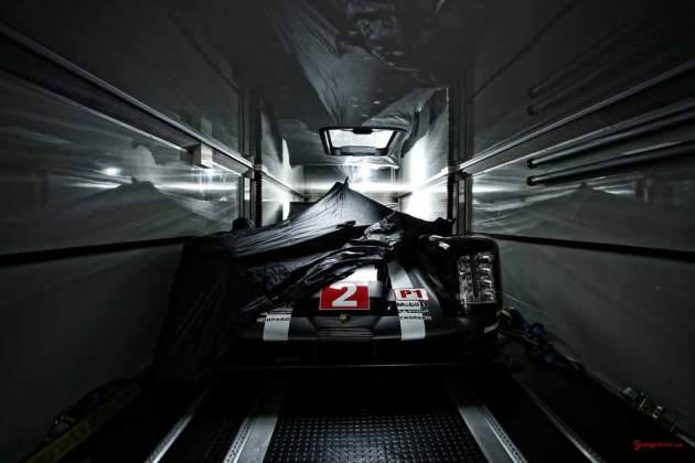 Porsche garners 18th overall win at 84th Le Mans 2016: Porsche 919 No 2 in trailer. Credit: Porsche AG