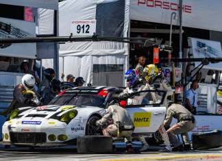Porsche Works 911 RSR last race: Porsche No. 912 in 2016 Petit Le Mans Road Atlanta pits. Credit: PAG