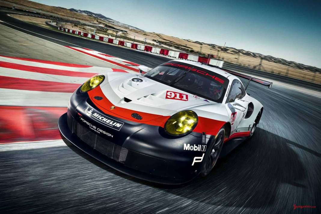 2017 Porsche GT-class 911 RSR: Left-front of racecar running on the track.
